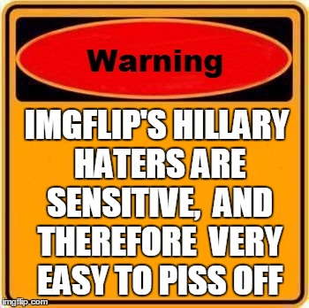 Warning Sign Meme | IMGFLIP'S HILLARY HATERS ARE SENSITIVE,  AND THEREFORE  VERY EASY TO PISS OFF | image tagged in memes,warning sign | made w/ Imgflip meme maker