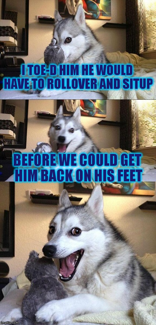 Bad Pun Dog Meme | I TOE-D HIM HE WOULD HAVE TO ROLLOVER AND SITUP BEFORE WE COULD GET HIM BACK ON HIS FEET | image tagged in memes,bad pun dog | made w/ Imgflip meme maker