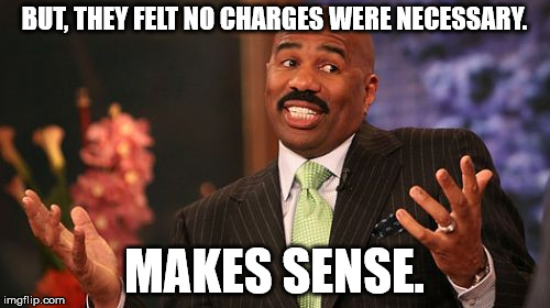 Steve Harvey Meme | BUT, THEY FELT NO CHARGES WERE NECESSARY. MAKES SENSE. | image tagged in memes,steve harvey | made w/ Imgflip meme maker