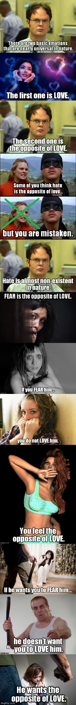 Every woman and girl should see this... Men and boys would benefit from it, too. | He wants the opposite of LOVE. | image tagged in meme,domestic abuse,domestic violence,fear,love,women | made w/ Imgflip meme maker