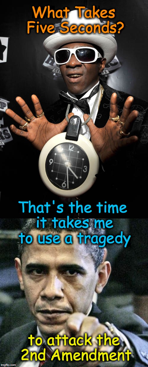 What Takes Five Seconds? to attack the 2nd Amendment That's the time it takes me to use a tragedy | image tagged in exploitation,obama | made w/ Imgflip meme maker