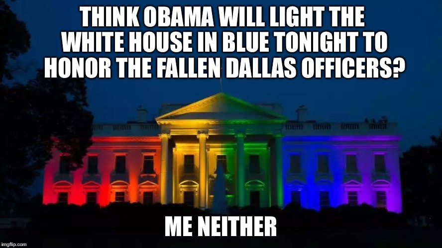 WHITE HOUSE PRIDE  |  THINK OBAMA WILL LIGHT THE WHITE HOUSE IN BLUE TONIGHT TO HONOR THE FALLEN DALLAS OFFICERS? ME NEITHER | image tagged in white house pride | made w/ Imgflip meme maker