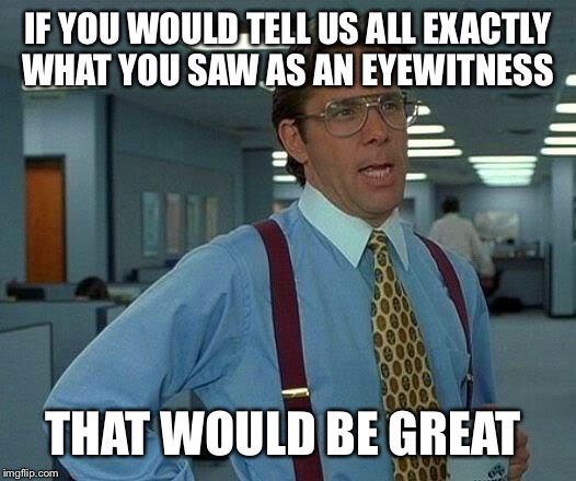 That Would Be Great Meme | IF YOU WOULD TELL US ALL EXACTLY WHAT YOU SAW AS AN EYEWITNESS THAT WOULD BE GREAT | image tagged in memes,that would be great | made w/ Imgflip meme maker