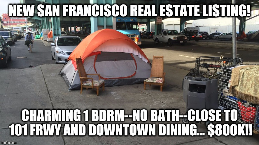 NEW SAN FRANCISCO REAL ESTATE LISTING! CHARMING 1 BDRM--NO BATH--CLOSE TO 101 FRWY AND DOWNTOWN DINING... $800K!! | image tagged in san francisco,real estate | made w/ Imgflip meme maker