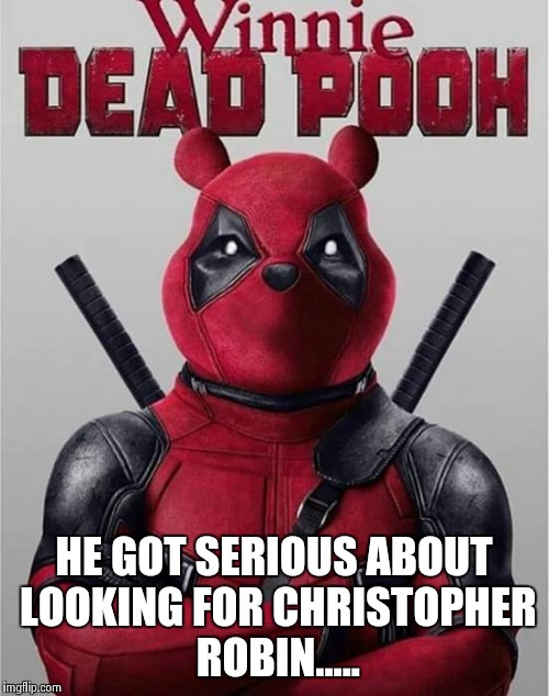 HE GOT SERIOUS ABOUT LOOKING FOR CHRISTOPHER ROBIN..... | image tagged in deadpool | made w/ Imgflip meme maker