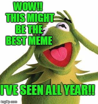 scared kermit | WOW!!  THIS MIGHT BE THE BEST MEME I'VE SEEN ALL YEAR!! | image tagged in scared kermit | made w/ Imgflip meme maker