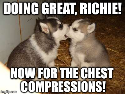 Rescue Dog | DOING GREAT, RICHIE! NOW FOR THE CHEST COMPRESSIONS! | image tagged in memes,cute puppies | made w/ Imgflip meme maker