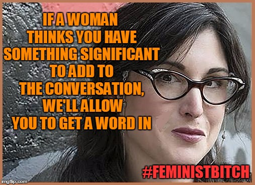 feminist Zeisler | IF A WOMAN THINKS YOU HAVE SOMETHING SIGNIFICANT TO ADD TO THE CONVERSATION,  WE'LL ALLOW YOU TO GET A WORD IN #FEMINISTB**CH | image tagged in feminist zeisler | made w/ Imgflip meme maker