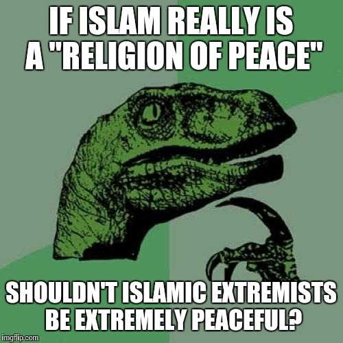 "Philosoraptor | IF ISLAM REALLY IS A ""RELIGION OF PEACE"" SHOULDN'T ISLAMIC EXTREMISTS BE EXTREMELY PEACEFUL? 