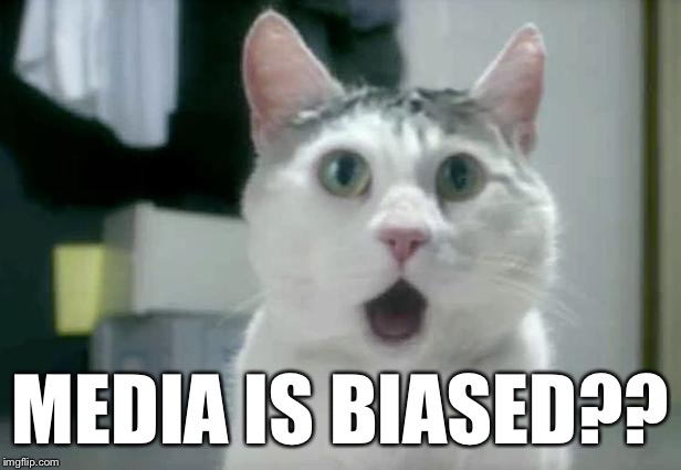 omg cat 2 | MEDIA IS BIASED?? | image tagged in omg cat 2 | made w/ Imgflip meme maker