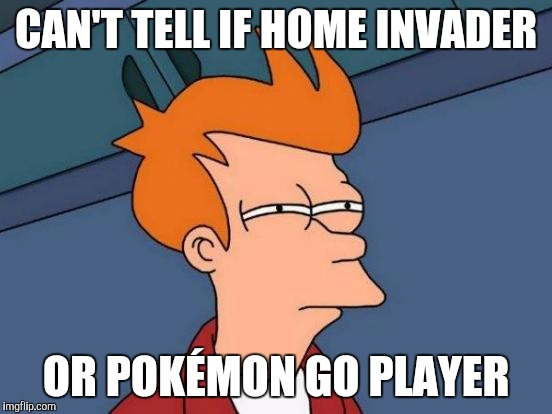 Get outa my house! | CAN'T TELL IF HOME INVADER OR POKÉMON GO PLAYER | image tagged in memes,futurama fry,pokemon,pokemon go | made w/ Imgflip meme maker