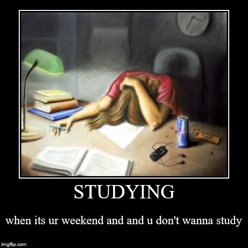 STUDYING | when its ur weekend and and u don't wanna study | image tagged in funny,demotivationals | made w/ Imgflip demotivational maker