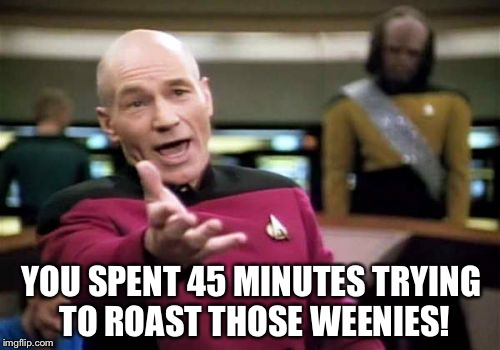Picard Wtf Meme | YOU SPENT 45 MINUTES TRYING TO ROAST THOSE WEENIES! | image tagged in memes,picard wtf | made w/ Imgflip meme maker
