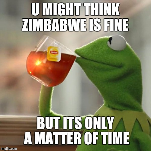 But Thats None Of My Business Meme | U MIGHT THINK ZIMBABWE IS FINE BUT ITS ONLY A MATTER OF TIME | image tagged in memes,but thats none of my business,kermit the frog | made w/ Imgflip meme maker