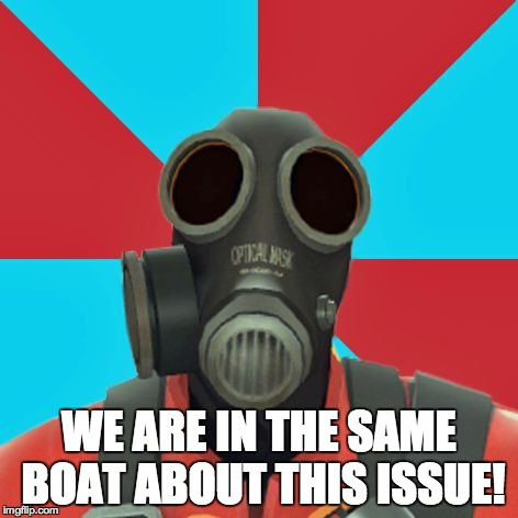 Paranoid Pyro | WE ARE IN THE SAME BOAT ABOUT THIS ISSUE! | image tagged in paranoid pyro | made w/ Imgflip meme maker