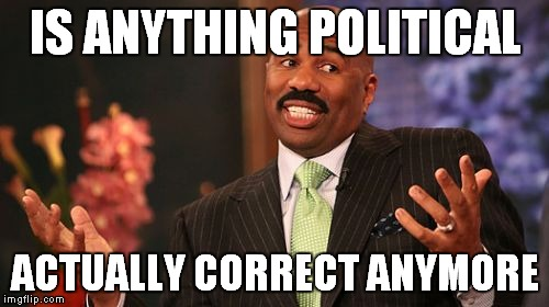 Steve Harvey Meme | IS ANYTHING POLITICAL ACTUALLY CORRECT ANYMORE | image tagged in memes,steve harvey | made w/ Imgflip meme maker