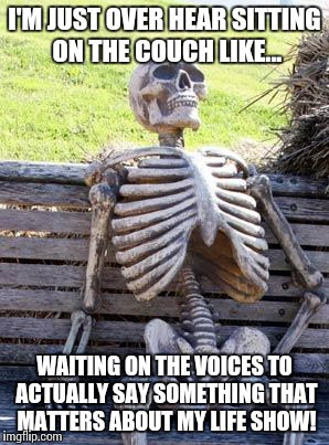 I'M JUST OVER HEAR SITTING ON THE COUCH LIKE... WAITING ON THE VOICES TO ACTUALLY SAY SOMETHING THAT MATTERS ABOUT MY LIFE SHOW! | image tagged in memes,waiting skeleton | made w/ Imgflip meme maker