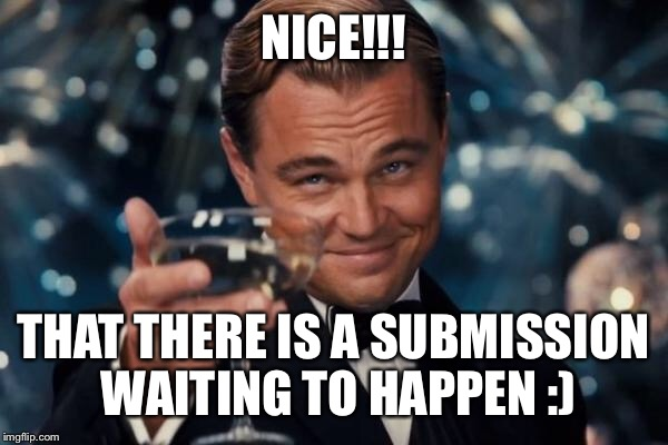 Leonardo Dicaprio Cheers Meme | NICE!!! THAT THERE IS A SUBMISSION WAITING TO HAPPEN :) | image tagged in memes,leonardo dicaprio cheers | made w/ Imgflip meme maker