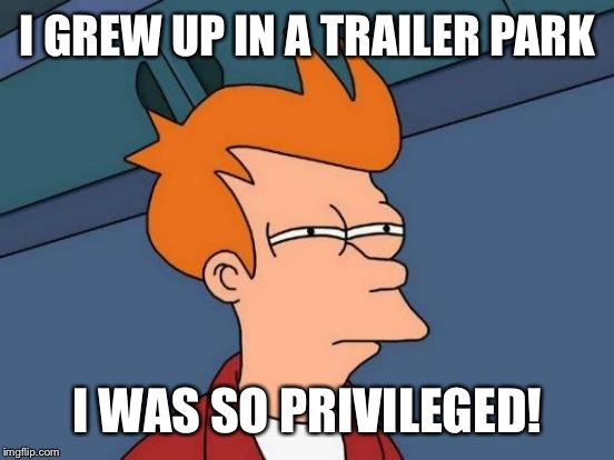 Futurama Fry Meme | I GREW UP IN A TRAILER PARK I WAS SO PRIVILEGED! | image tagged in memes,futurama fry | made w/ Imgflip meme maker
