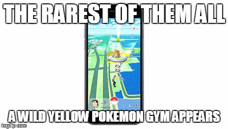 Yellow pokemon gym appears | THE RAREST OF THEM ALL A WILD YELLOW POKEMON GYM APPEARS | image tagged in pokemon go | made w/ Imgflip meme maker