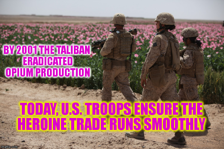 Did you ever wonder why we won't leave Afghanistan? | BY 2001 THE TALIBAN ERADICATED OPIUM PRODUCTION TODAY, U.S. TROOPS ENSURE THE HEROINE TRADE RUNS SMOOTHLY | image tagged in war on drugs,afghanistan,war on terror,memes,politics | made w/ Imgflip meme maker