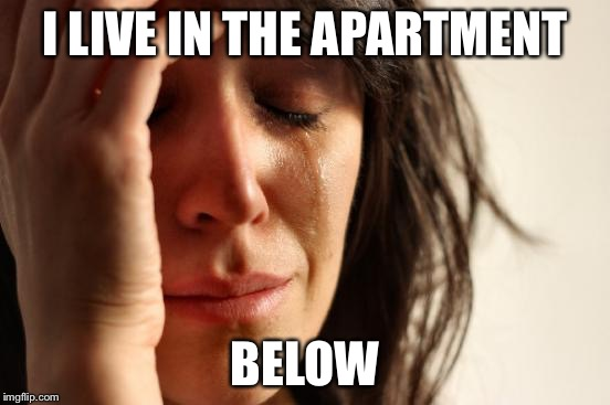 First World Problems Meme | I LIVE IN THE APARTMENT BELOW | image tagged in memes,first world problems | made w/ Imgflip meme maker