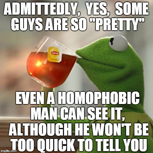 "But That's None Of My Business Meme | ADMITTEDLY,  YES,  SOME GUYS ARE SO ""PRETTY"" EVEN A HOMOPHOBIC MAN CAN SEE IT,  ALTHOUGH HE WON'T BE TOO QUICK TO TELL YOU 