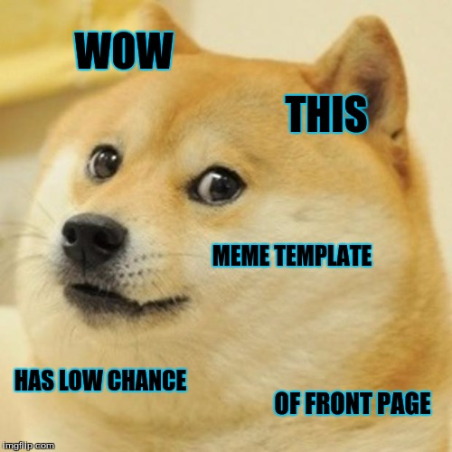 No kidding. :P | WOW THIS MEME TEMPLATE HAS LOW CHANCE OF FRONT PAGE | image tagged in memes,doge | made w/ Imgflip meme maker