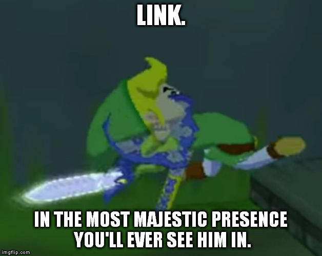 toon link | LINK. IN THE MOST MAJESTIC PRESENCE YOU'LL EVER SEE HIM IN. | image tagged in wtf,link,majestic,legend of zelda,the legend of zelda,pbg | made w/ Imgflip meme maker