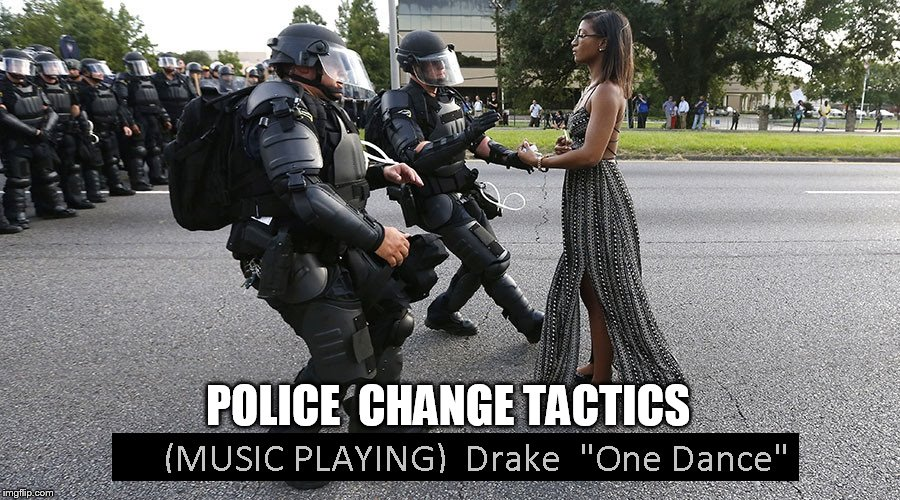 Funny Meme Dance : Protests will now be resolved by dance off police shown starting