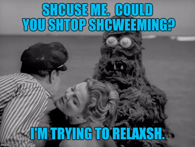 SHCUSE ME.  COULD YOU SHTOP SHCWEEMING? I'M TRYING TO RELAXSH. | made w/ Imgflip meme maker