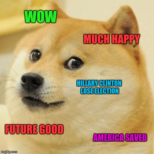 Doge chooses | WOW MUCH HAPPY HILLARY CLINTON LOSE ELECTION FUTURE GOOD AMERICA SAVED | image tagged in memes,doge | made w/ Imgflip meme maker