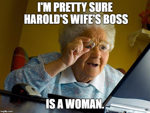 Grandma Finds The Internet Meme | I'M PRETTY SURE HAROLD'S WIFE'S BOSS IS A WOMAN. | image tagged in memes,grandma finds the internet | made w/ Imgflip meme maker
