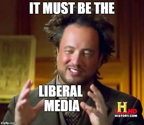 Ancient Aliens Meme | IT MUST BE THE LIBERAL MEDIA | image tagged in memes,ancient aliens | made w/ Imgflip meme maker