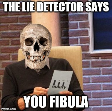 Maury Lie Detector Meme | THE LIE DETECTOR SAYS YOU FIBULA | image tagged in memes,maury lie detector | made w/ Imgflip meme maker