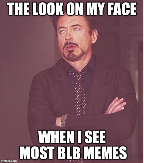 Face You Make Robert Downey Jr Meme | THE LOOK ON MY FACE WHEN I SEE MOST BLB MEMES | image tagged in memes,face you make robert downey jr | made w/ Imgflip meme maker