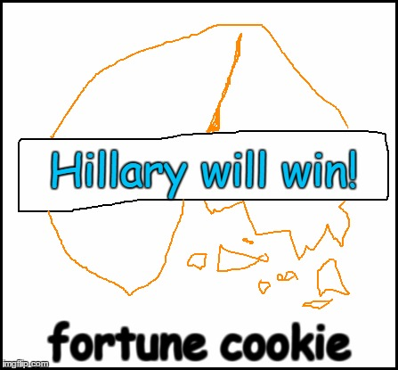 blank | Hillary will win! fortune cookie | image tagged in blank | made w/ Imgflip meme maker