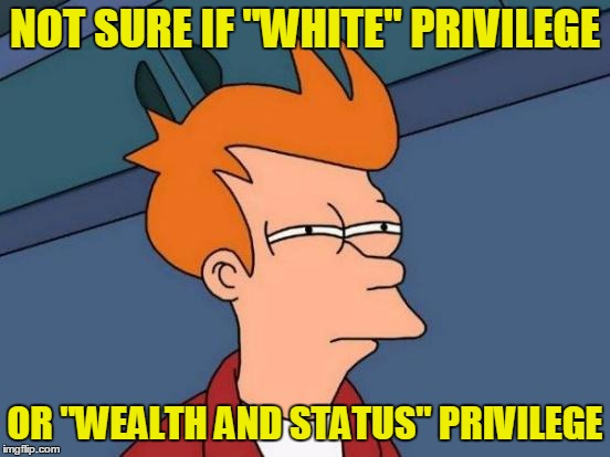 "Futurama Fry Meme | NOT SURE IF ""WHITE"" PRIVILEGE OR ""WEALTH AND STATUS"" PRIVILEGE 