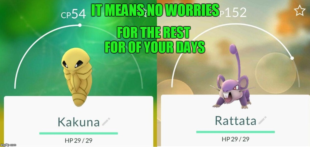IT MEANS NO WORRIES FOR THE REST FOR OF YOUR DAYS | image tagged in memes,funny,pokemon,hakuna matata,pokemon go | made w/ Imgflip meme maker
