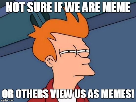 Futurama Fry Meme | NOT SURE IF WE ARE MEME OR OTHERS VIEW US AS MEMES! | image tagged in memes,futurama fry | made w/ Imgflip meme maker