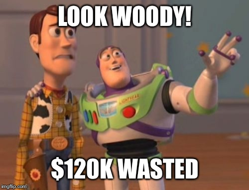 X, X Everywhere Meme | LOOK WOODY! $120K WASTED | image tagged in memes,x,x everywhere,x x everywhere | made w/ Imgflip meme maker
