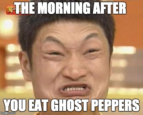 Impossibru Guy Original Meme | THE MORNING AFTER YOU EAT GHOST PEPPERS | image tagged in memes,impossibru guy original | made w/ Imgflip meme maker