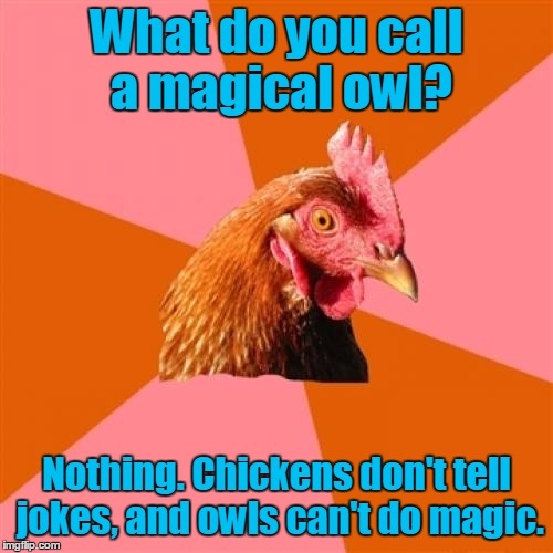 Oh no Hoo di'int | What do you call a magical owl? Nothing. Chickens don't tell jokes, and owls can't do magic. | image tagged in memes,anti joke chicken,owl,owls,magical,hoodini | made w/ Imgflip meme maker