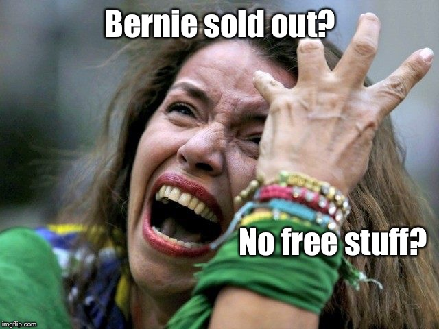 Feel the Bern, kids!  Feel the Bern. |  Bernie sold out? No free stuff? | image tagged in spoiled college girl,meme,drsarcasm,feel the bern,sold out | made w/ Imgflip meme maker