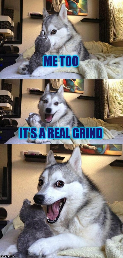 Bad Pun Dog Meme | ME TOO IT'S A REAL GRIND | image tagged in memes,bad pun dog | made w/ Imgflip meme maker