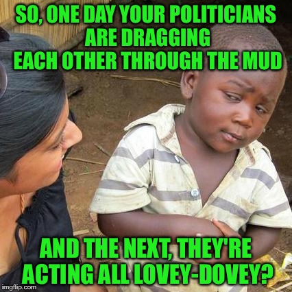 Only in America | SO, ONE DAY YOUR POLITICIANS ARE DRAGGING EACH OTHER THROUGH THE MUD AND THE NEXT, THEY'RE ACTING ALL LOVEY-DOVEY? | image tagged in memes,third world skeptical kid,hillary,bernie | made w/ Imgflip meme maker