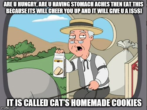 Family Guy Pepper Ridge | ARE U HUNGRY, ARE U HAVING STOMACH ACHES THEN EAT THIS BECAUSE ITS WILL CHEER YOU UP AND IT WILL GIVE U A [$5$] IT IS CALLED CAT'S HOMEMADE  | image tagged in family guy pepper ridge | made w/ Imgflip meme maker