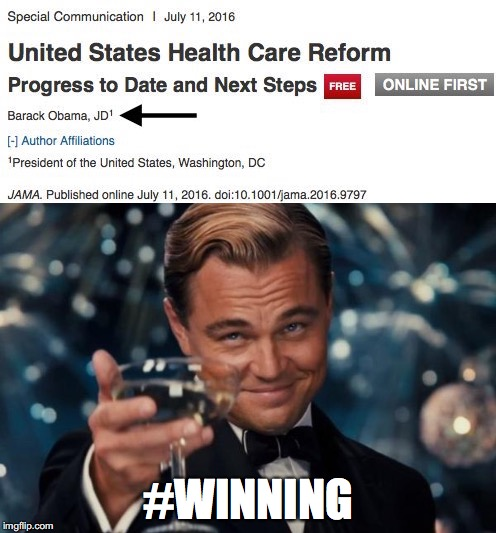 When Barack Obama Publishes a Scientific Paper in a Top Medical Journal | #WINNING | image tagged in memes,barack obama,leonardo dicaprio cheers,winning,science,medicine | made w/ Imgflip meme maker