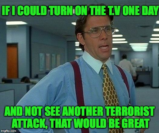 In a perfect world I guess. | IF I COULD TURN ON THE T.V ONE DAY AND NOT SEE ANOTHER TERRORIST ATTACK, THAT WOULD BE GREAT | image tagged in memes,that would be great,terrorism,news,funny,media | made w/ Imgflip meme maker