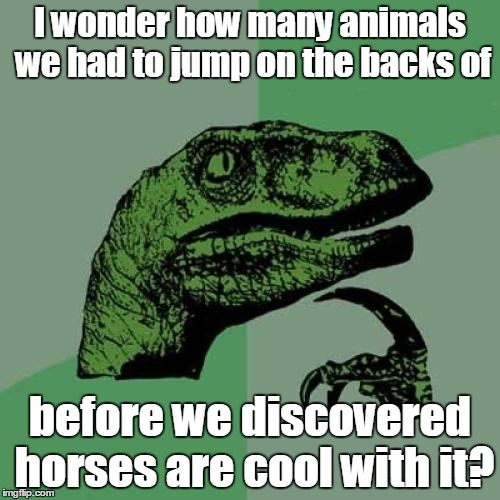 Philosoraptor Meme | I wonder how many animals we had to jump on the backs of before we discovered horses are cool with it? | image tagged in memes,philosoraptor | made w/ Imgflip meme maker